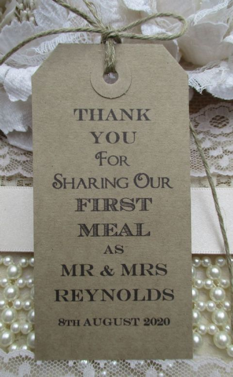 10 Wedding Table Place Setting Tag  Napkin Tie Personalized 108 x 54mm